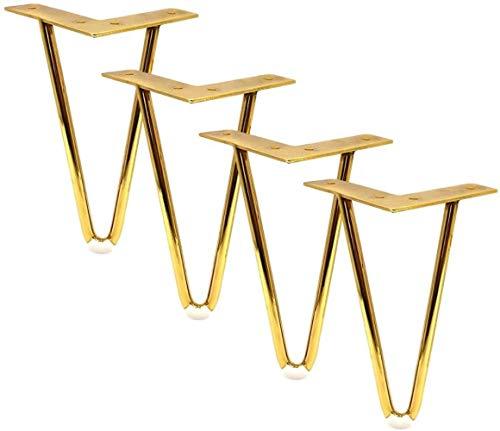 CPI 4 pies de Muebles, pie de Mesa, pies de Repuesto para Muebles, pies de gabinete, pies de sofá, mesita de Noche y Mesa de Centro, Accesorios de Bricolaje de Estilo Europeo, Dorado, 12cm / 4.72in