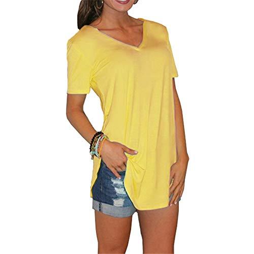 ZFQQ Einfarbiges Kurzarm-T-Shirt mit V-Ausschnitt
