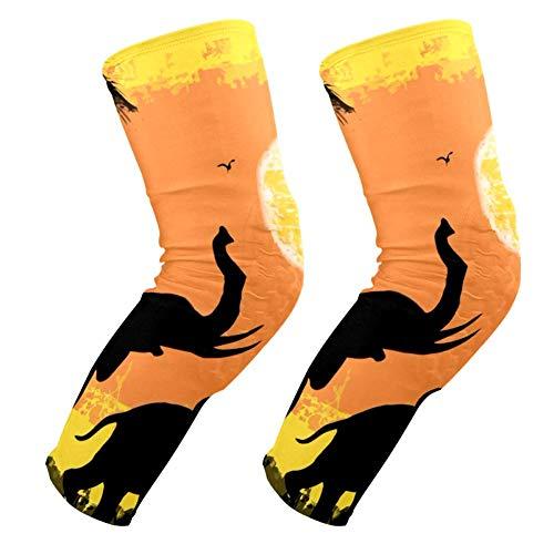 EZIOLY - Rodilleras con diseño de elefantes africanos, para baloncesto, voleibol, panal de abeja, pierna, rodillera, protector acolchado para hombres y mujeres