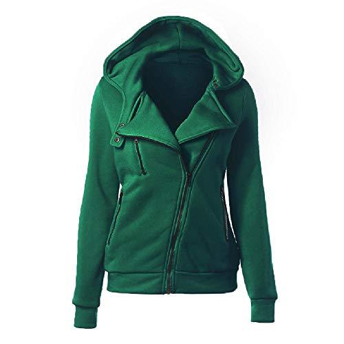 Suéter de forro polar para mujer con capucha de manga larga y cremallera diagonal