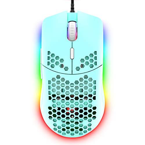 Hoopond Ziyoulang - Mouse da gioco con cavo, 69G, con guscio a nido d'ape, leggero, 6400 dpi {Verde}