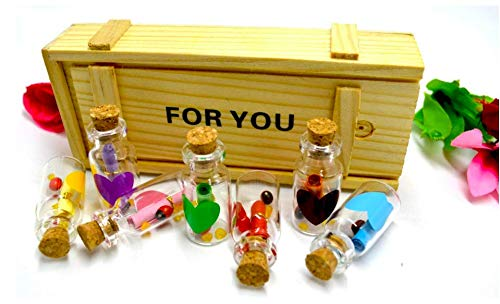 A One Creations Message Bottles Gift Set with Wooden Box Surprise Glass Message Pills Bottle for Girlfriend/Wife, Boyfriend, Pills for Gift Valentine Day Gift for Girlfriend (Pack of 7)