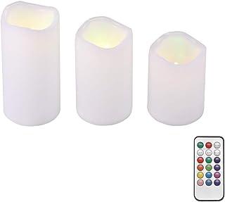 Phonleya Luz de vela electrónica LED - Luces de colores votivas de control remoto sin llama parpadeantes con función de te...