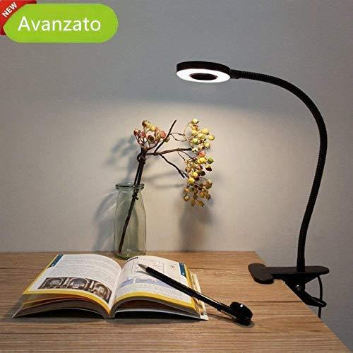 Lampada da Tavolo a LED, Lypumso Luce da Scrivania con Clip di Protezione per gli Occhi, 2 Modalità Regolabili, Bianco Freddo/Caldo, Collo Flessibile a 360 °, Risparmio Energetico, Nero.