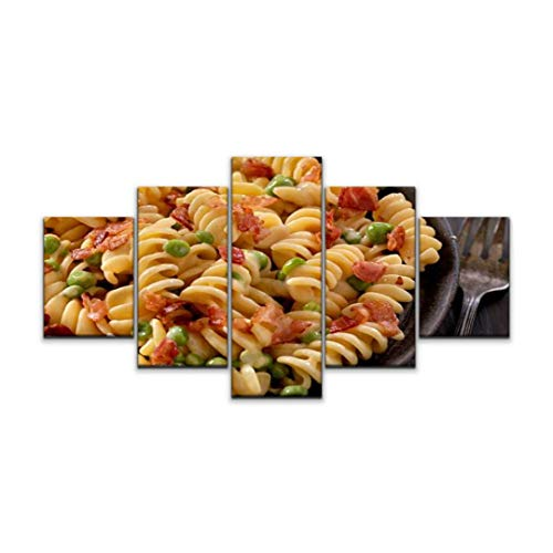 5 panels Wall Art Print On Canvas creamy rotini and cheese carbonara with peas noodles stock pictures Modern Abstract Picture Poster for Home Decor Stretched and Framed Ready to Hang (60''Wx32''H)