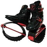 XHJL Zapatos de Salto de Rebote Botas de Saltar Antideslizantes Ajustables para Ejercicios de Fitness Zapatos de Salto para Adultos, niños, niños, niñas (Negro y Rojo) (M)