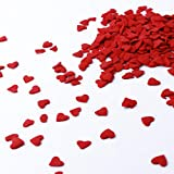 Large Red Confetti| Heart Shape Confetti Valentine's Day Colorful Candy Sprinkles Mix For Baking Edible Cake Decorations Cupcake Toppers Cookie Decorating Ice Cream Toppings, 4OZ