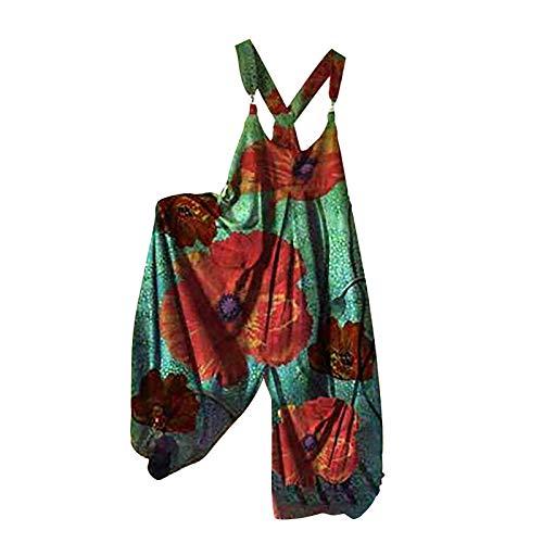 Jumpsuit Damen Sommer Boho Lang Druck Trainingsanzug Overall Damen Loose Oversize Mit Knopfleiste Und Taschen Freizeitanzug Alle Größen