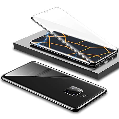 EATCYE Kompatible mit Huawei Mate 20 Pro Hülle, Ultra Dünn Magnetische Adsorption Metallrahmen Hülle 360 Grad Komplettschutz mit Doppelseitig Gehärtetes Glas Transparente Displayschutzfolie (Schwarz)