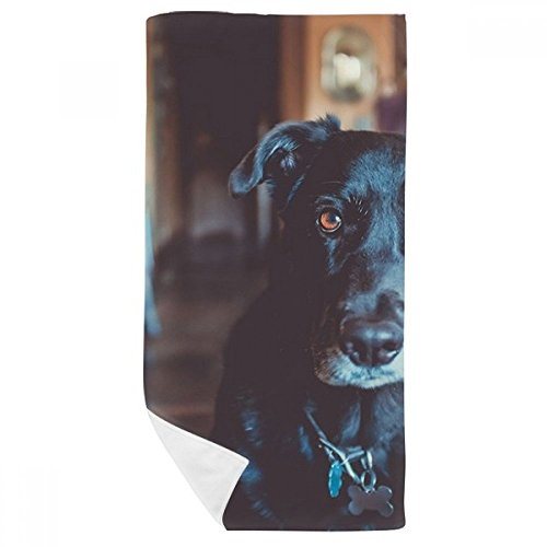 DIYthinker zwarte hond huisdier dier foto bad handdoek zachte wasdoek Facecloth 35X70Cm