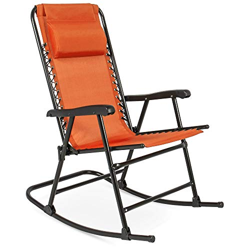 Best Choice Products Foldable Zero Gravity Rocking Mesh Patio Recliner Chair w/Headrest Pillow, Orange