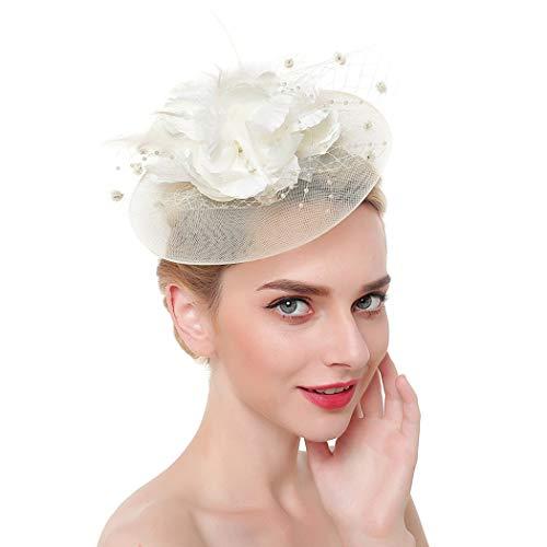 Fashband - Copricapo da sposa a forma di gabbia per uccelli, con motivo floreale e piume su una fascia e una clip per cocktail, tè e feste, cerimonia nuziale per ragazze e donne (beige)