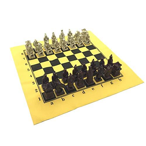 ZDAMN Schachset Antike Schach Set Lederschachbrett Exquisite Harz Schachfiguren Charakter Modelling Tischspiele Schach Dame (Farbe : Yellow, Size : One Size)