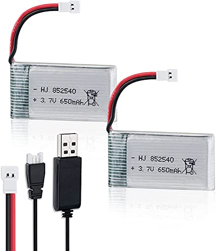 FPVERA 3.7V Lipo Battery USB Charger and 2PCS 650mAh Lipo Battery for Syma X5 Serial UAV Drone