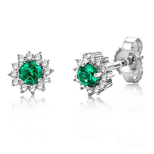 Miore Damen Smaragd Ohrstecker/Ohrringe Weißgold 9KT (375) mit Diamant Brillanten 0.10 ct