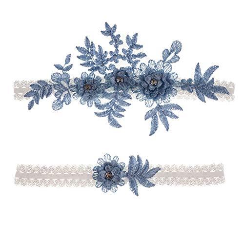 Afrsmw Liga Novia Boda Azul Elegante Ligueros Elásticos de Encaje con Flores y Diamantes de Imitación Blau