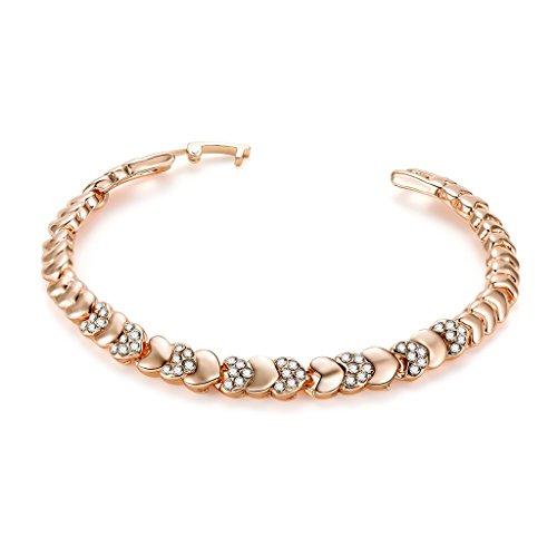 Gergxi Pulsera de Mujer en Forma de corazón de Lujo con Diamantes de imitación joyería Brazalete encantos Regalos Casuales