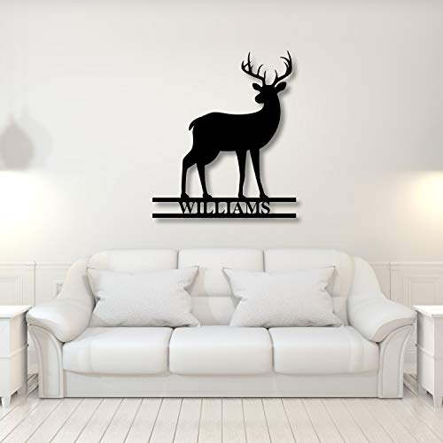 DKISEE YMD7651 - Señal de metal con nombre de Buck, decoración de granja, regalo de Navidad para él, decoración de cuernos de ciervo, arte de pared de metal, 24 pulgadas, oro rosa, YMD7651