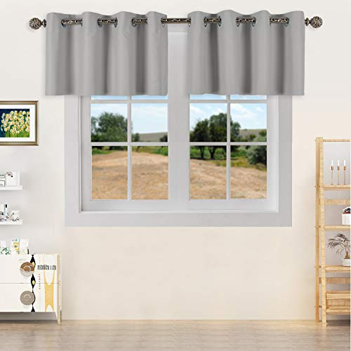 YGO Light Grey Blackout Curtain Valances, Thermal Insulated Short Grommet Curtain Panels,Small Half Window Valances for Kitchen (52 X 18 Inches,2 Pieces)