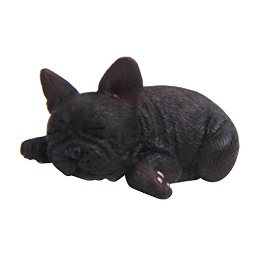 joyMerit Handmade Miniature Resin Dollhouse Cute French Bulldog Statue Figurine DIY - Black, A