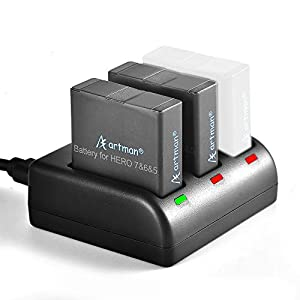 Artman GoPro Hero 5/6/7 1480mah Replacement Batteries (2-Pack) and 3-Channel LED USB Charger for GoPro Hero 7 Black, Hero 6 Black,Hero 5 Black,Hero 2018(Fully Compatible with Original)