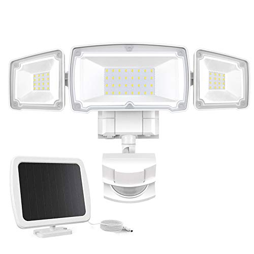 Solar Security Lights Outdoor, Sonata Super Bright LED Solar Motion Sensor Light with 3 Adjustable Heads, 1500LM 6000K IP65 Waterproof Flood Light for Backyard, Pathway and Patio