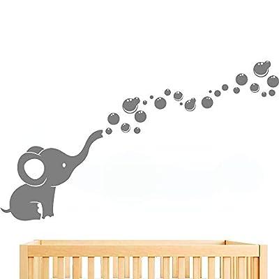 Elephant Blowing Bubbles Wall Sticker Nursery Room Wall Decor Girls Boys Baby Bedroom Art Removable Vinyl Murals WS78 (Gray)
