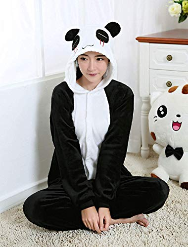 Pijama completo de animales unisex adulto disfraz de carnaval Halloween pijamas Cosplay disfraz mujer hombre mono animal Panda S