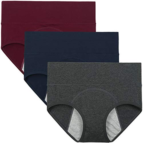INNERSY Women' s Mid Rise After Birth Underwear Cotton Panties Briefs 3-Pack (Large/7, Wine Red&Ensign&Charcoal Gray)