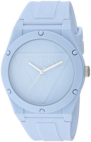 GUESS Quartz Rubber and Silicone Casual Watch, Color:Light Blue (Model: U0979L6)