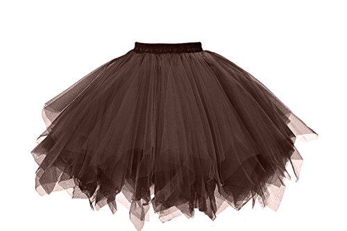 MuseverBrand 50er Vintage Ballet Blase Firt Tulle Petticoat Puffy Tutu Chocolate Small/Medium