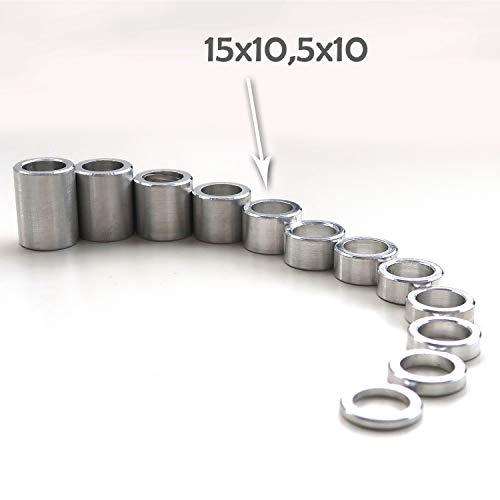 PROTECH 25 Stück Distanzhülsen aus Aluminium 15x10,5x10 Alu Hülsen Abstandshülse Abstandhalter Rohrbuchse