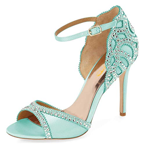 XYD Peep Toe Rhinestones Crystal Studs Wedding Bride Sandals Ankle Buckle Strap Pencil Heel D'Orsay Dress Pumps Shoes for Women Size 8 Turquoise 10-13cm
