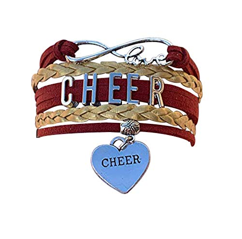 Cheer Charm Bracelet- Girls Infinity Love Adjustable Cheerleading Jewelry in Team Colors - Perfect Gift For Cheerleader (Maroon/Gold)