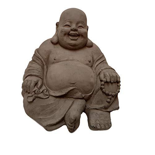 Statuette Bouddha Souriant Assis - Maison/Jardin - 24 cm (Hauteur) - Gris