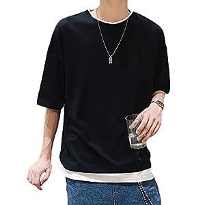 [クーパーアンドコー] 6カラー 重ね着風シャツ 半袖シャツ 半袖 Tシャツ ビッグシルエット 夏 大きいサイズ オーバーサイズ シャツT 半袖T シャツ シャツティー てぃーしゃつ ティーシャツ 大きめ 薄手 レイヤード フェイク 白T 黒T 薄い BIG ビッグ 春夏 ゆったり リラクシング t-shirt サマーカーディガン ダボシャツ アロハシャツ 韓国 かんこく メンズ L ブラック