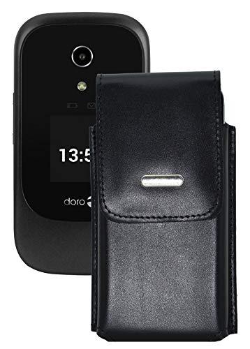 Favory-Shop Vertikal Etui kompatibel mit Doro 7060 Köcher Tasche Hülle Ledertasche Vertical Case Handytasche mit Einer Gürtelschlaufe auf der Rückseite