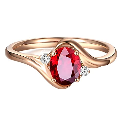 HCMA Anillos de Piedras Preciosas de topacio Rojo para Mujer, Anillo Chapado en Oro Rosa de 18 Quilates, Regalo romántico Ovalado, joyería de Compromiso de Lujo