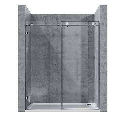 ELEGANT Frameless Sliding Shower Door, Bypass Shower Door with 3/8 in. Clear Glass Panel Chrome Polished Stainless Steel Frameless Shower Glass Door, 60inch x 72inch Sliding Bathroom Door