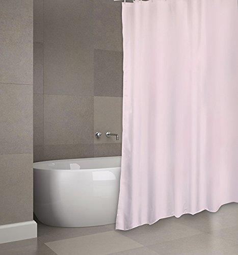 """MSV Cotexsa by Premium Anti-Schimmel Textil Duschvorhang - Anti-Bakteriell, waschbar, 100prozent wasserdicht, mit 12 Duschvorhangringen - Polyester, """"Uni"""" Rosa 180x200cm – Made in Spain"""