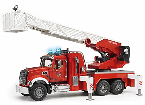 Bruder 02821 Mack Granite Fire Engine Truck w/ Working Water Pump, Lights & Engine Sounds