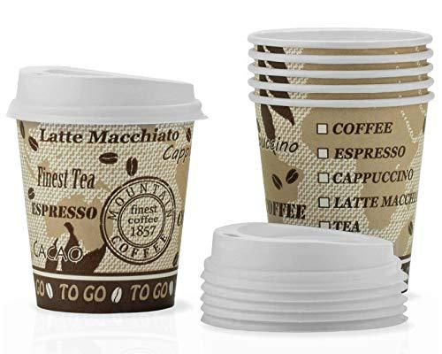 Octopus 80x Taza de café To Go de cartón 175 ml, Taza de café to go de cartón, Taza desechable con Tapas Blancas