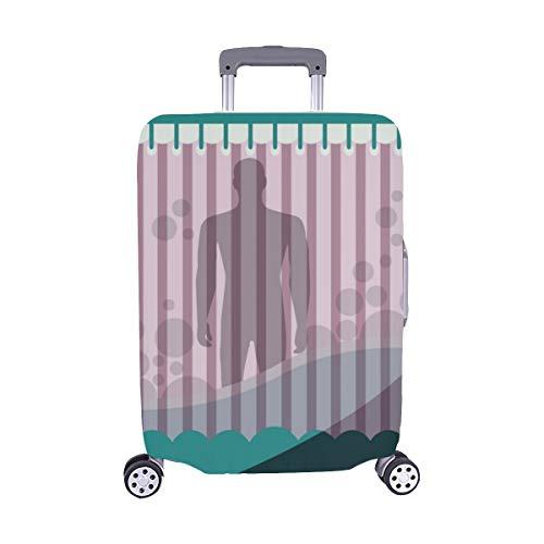 (Solo Cubrir)Un Limpio Moderno Silueta Hombre Bañera Maleta Trolley de Viaje Protector de Equipaje Cubierta Protectora para de la Maleta 28.5 X 20.5 Pulgada