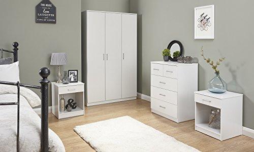 Home Source Holzmöbel-Set für Schlafzimmer, Kleiderschrank, Truhe, Nachttisch, Weiß, 4-teilig