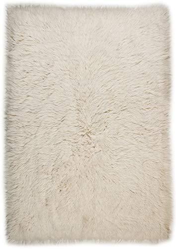 Tapis FLOKATI 2450 - tisséà la main en laine naturelle - à longues mèches Coloré: blanc Dimension: 60 x 90 cm