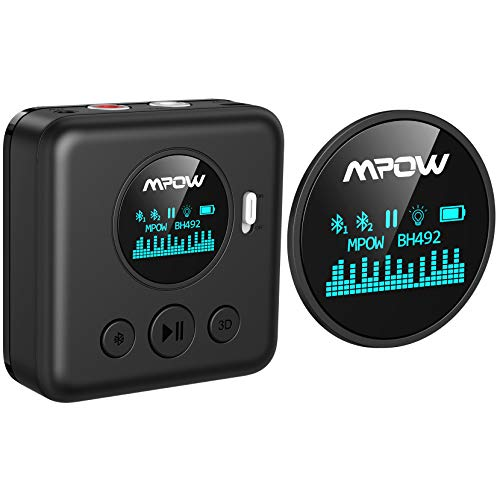 Mpow Bluetooth Audio Receiver, Wireless Audio Adapter with a Unique Screen Design for Speaker, Home Music Stereo or Car Sound System, Bluetooth 5.0 Receiver with 3D Surround, 10 Hours of Battery Life