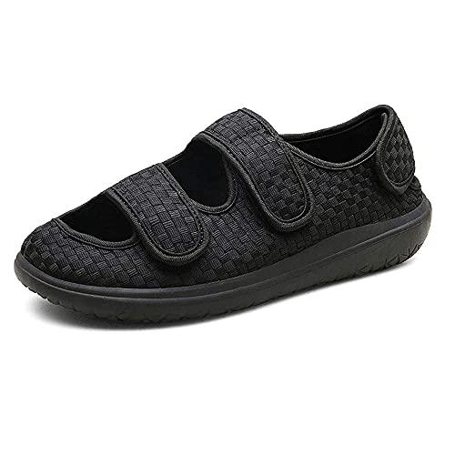 CYN Diabéticos Posoperatorio Ajuste Velcro, Zapatillas diabéticas para Hombre Edem Zapatos con Cierres Ajustables Extra Ancho Terrific para Elfry Hinchado Pies Suave y cómoda Suela-Negro_45EU