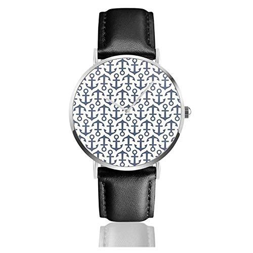 Reloj de Pulsera, Correa de Cuero de PU con repetición de Ancla, Reloj de Cuarzo de Acero Inoxidable Informal clásico