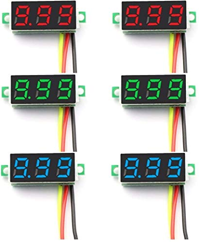 ZHITING 6 Piezas Mini voltímetro Digital DC 0-100V 0,28 Pulgadas Mini voltímetro Digital de Tres líneas medidor probador de Voltaje 3 Colores