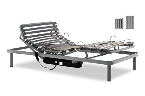 Gerialife® Cama Articulada Eléctrica Reforzada   Patas Extra de 35 cm (90x190, Plateado)